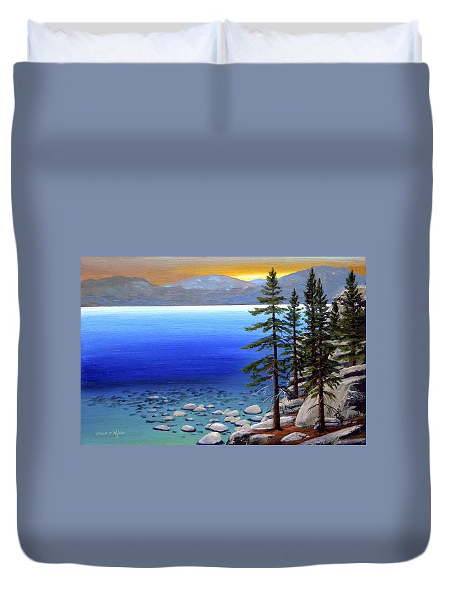 Lake Tahoe Duvet Cover featuring the painting Lake Tahoe Sunrise by Frank Wilson