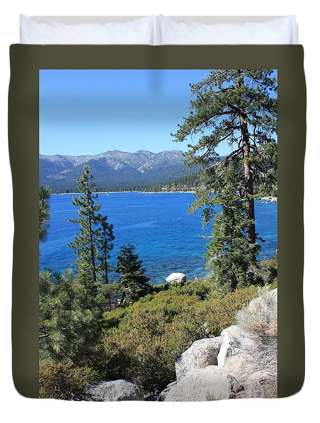 Lake Tahoe Duvet Cover featuring the photograph Lake Tahoe With Mountains by Carol Groenen