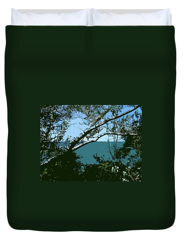 Birch Trees Duvet Cover featuring the photograph Lake Through the Trees by Michelle Calkins