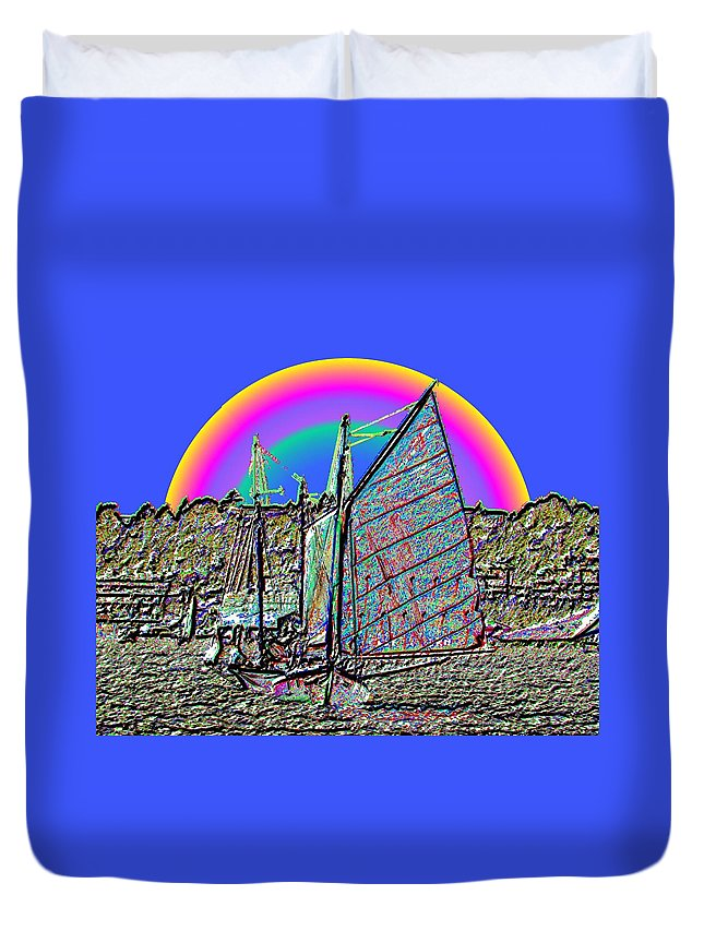 Seattle Duvet Cover featuring the photograph Lake Union Rainbow Sail by Tim Allen