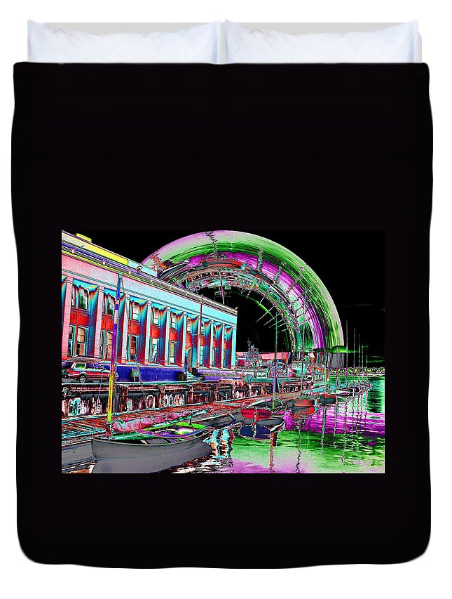 Seattle Duvet Cover featuring the photograph Lake Union Rainbow by Tim Allen