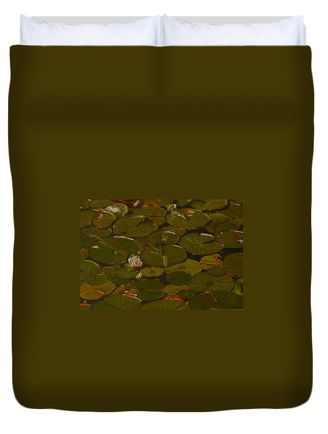 Lily Pad Duvet Cover featuring the painting Lake Washington Lily Pad 17 by Thu Nguyen