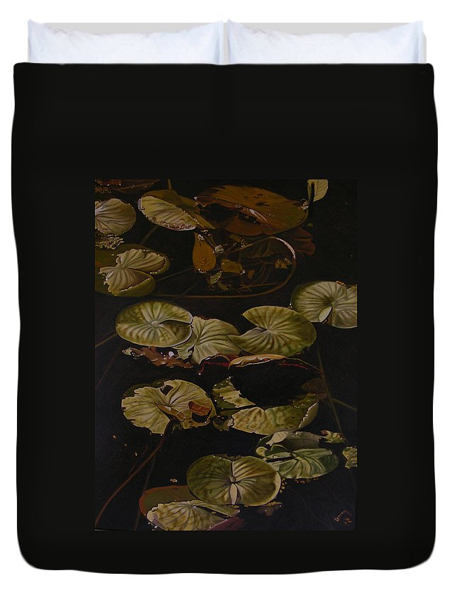 Lilypad Duvet Cover featuring the painting Lake Washington Lily Pad 9 by Thu Nguyen