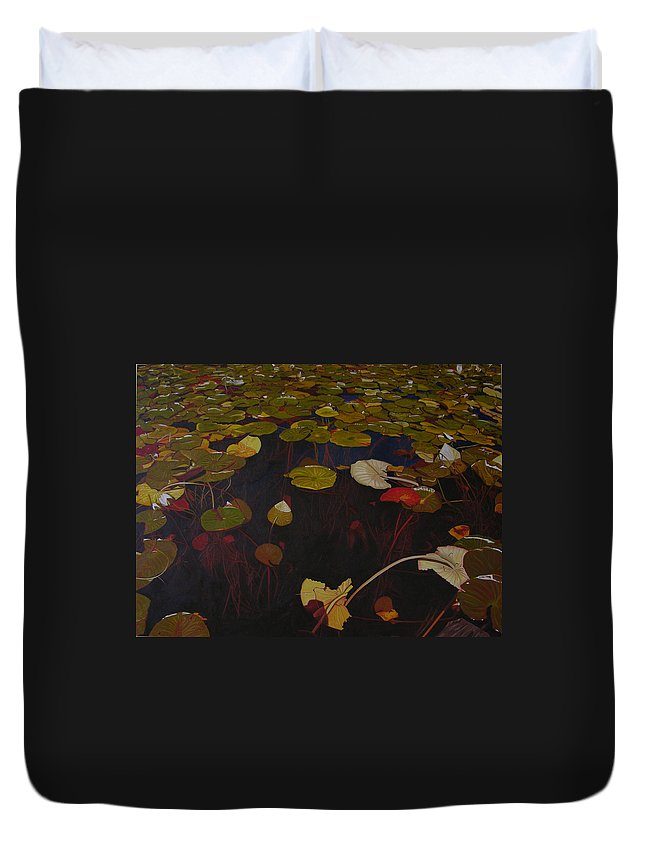 Water Duvet Cover featuring the painting Lake Washington Lilypad 7 by Thu Nguyen