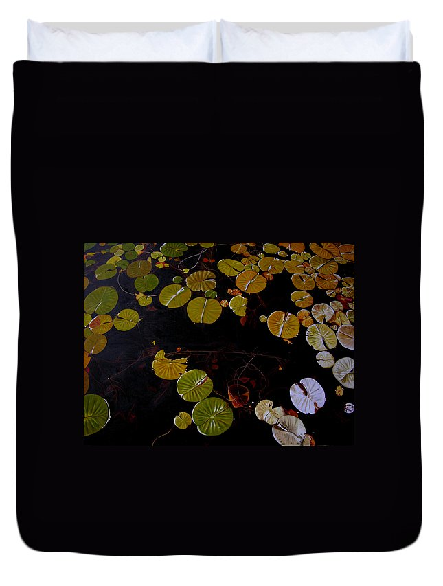 Water Duvet Cover featuring the painting Lake Washington Lilypad 8 by Thu Nguyen