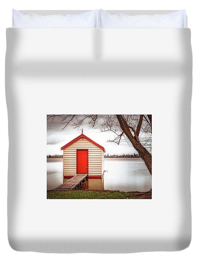 Landscape Duvet Cover featuring the photograph Lake Wendourie Boathouse by Cate O'Donnell