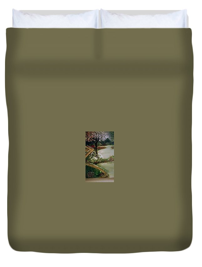 Duvet Cover featuring the painting Lake1 by Bonnie Allison