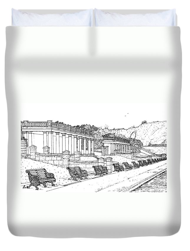 Scenic Drawing Duvet Cover featuring the drawing Lakeside. Barry by Frank Hamilton