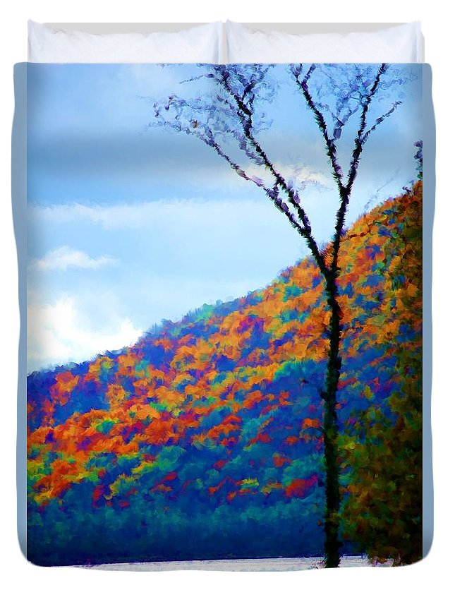 Digital Photograph Duvet Cover featuring the photograph Lakeside by David Lane