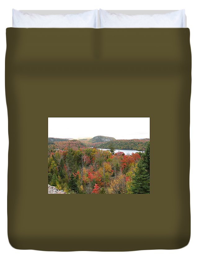 Fall Duvet Cover featuring the photograph Lakeside by Kelly Mezzapelle