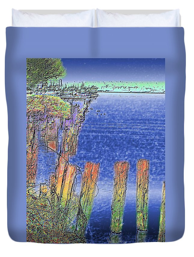 Seattle Duvet Cover featuring the photograph Lakeside Pilings by Tim Allen