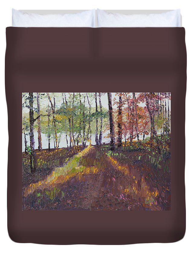 Landscape Duvet Cover featuring the painting Lakeside Shadows by Lea Novak