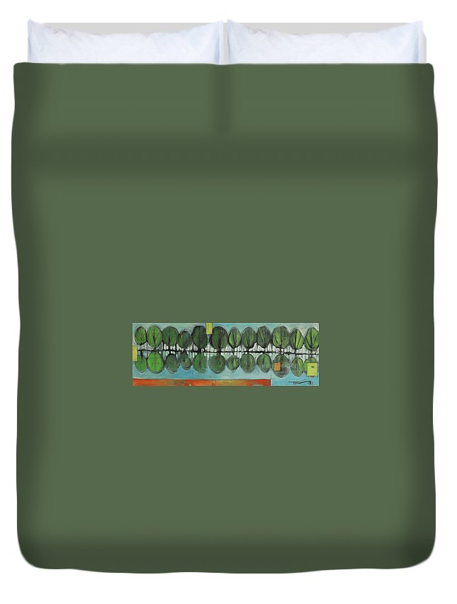 Trees Duvet Cover featuring the painting Lakeside Trees by Tim Nyberg