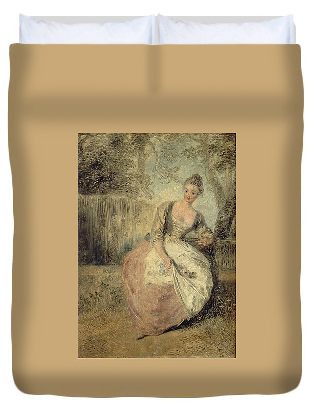 French Painters Duvet Cover featuring the painting L'amante Inquiete by Antoine Watteau