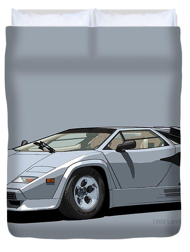 Lamborghini Countach 5000qv Argento Luna Us Spec Duvet Cover For