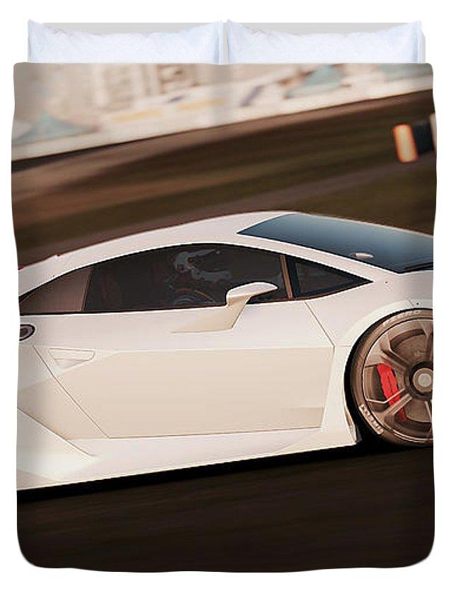 Lamborghini Duvet Cover featuring the photograph Lamborghini Sesto Elemento - 05 by Andrea Mazzocchetti