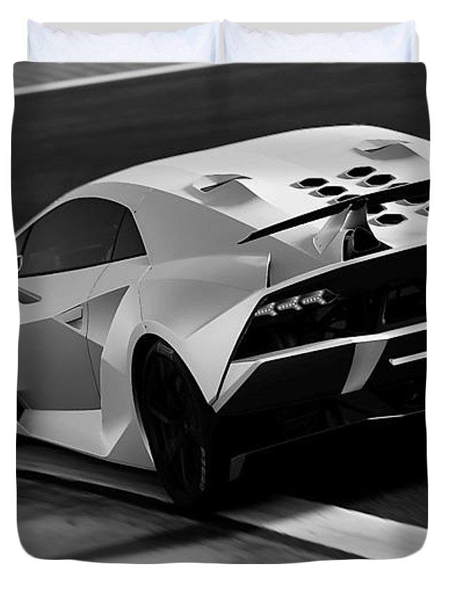 Lamborghini Duvet Cover featuring the photograph Lamborghini Sesto Elemento - 10 by Andrea Mazzocchetti