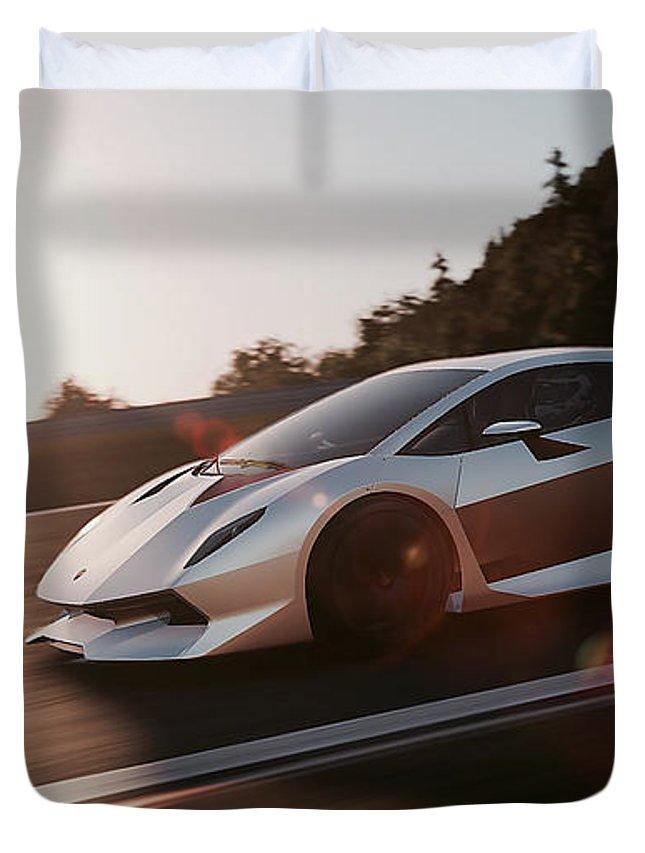 Lamborghini Duvet Cover featuring the photograph Lamborghini Sesto Elemento - 12 by Andrea Mazzocchetti