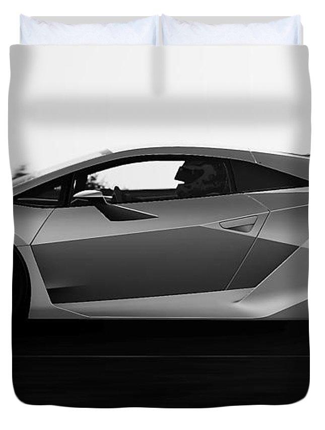 Lamborghini Duvet Cover featuring the photograph Lamborghini Sesto Elemento - 19 by Andrea Mazzocchetti