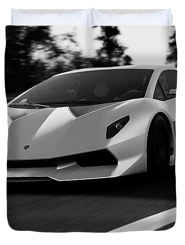 Lamborghini Duvet Cover featuring the photograph Lamborghini Sesto Elemento - 20 by Andrea Mazzocchetti