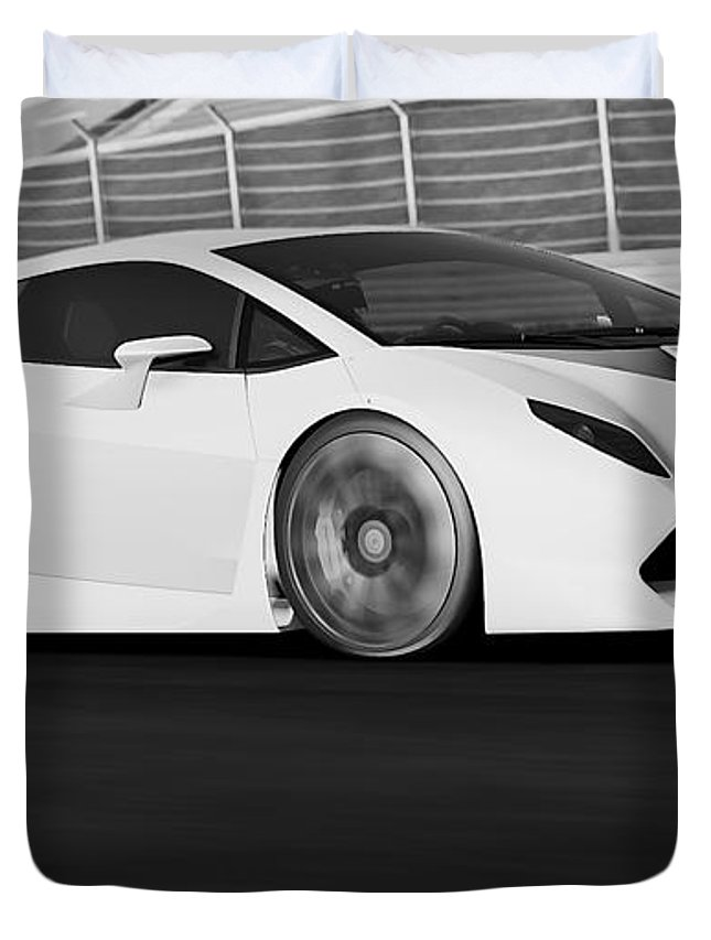 Lamborghini Duvet Cover featuring the photograph Lamborghini Sesto Elemento - 21 by Andrea Mazzocchetti