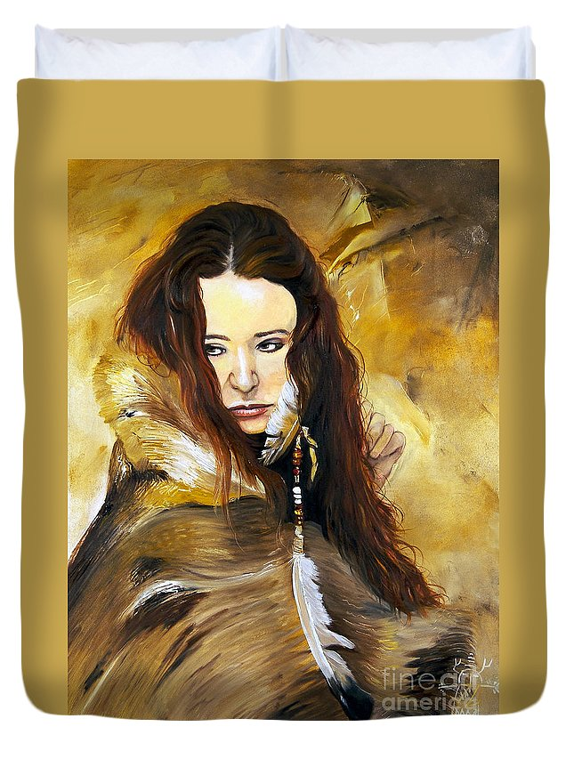 Southwest Art Duvet Cover featuring the painting Lament by J W Baker