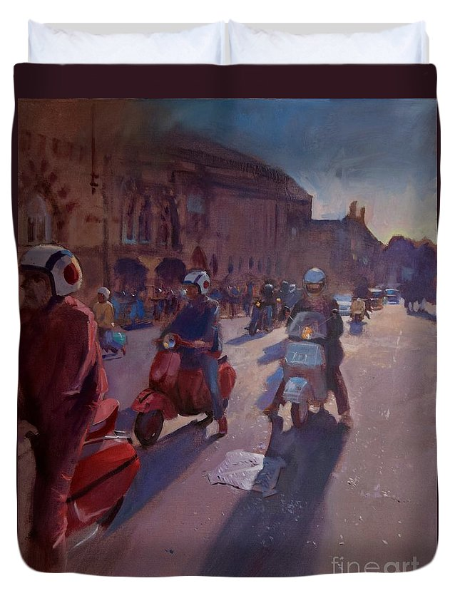Winchester Duvet Cover featuring the painting Lambrettas At Winchester by John Welsh