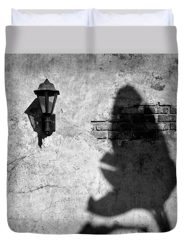 Lamp Duvet Cover featuring the photograph Lamp And Leaf by Dave Bowman