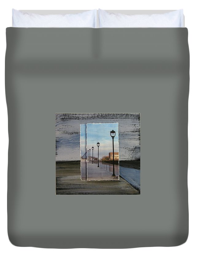 Lamp Post Duvet Cover featuring the mixed media Lamp Post Row Layered by Anita Burgermeister
