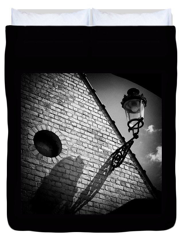Lamp Duvet Cover featuring the photograph Lamp With Shadow by Dave Bowman