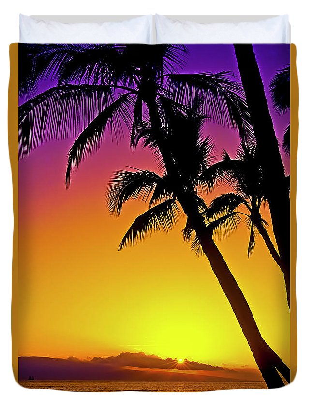 Sunset Duvet Cover featuring the photograph Lanai Sunset II Maui Hawaii by Jim Cazel