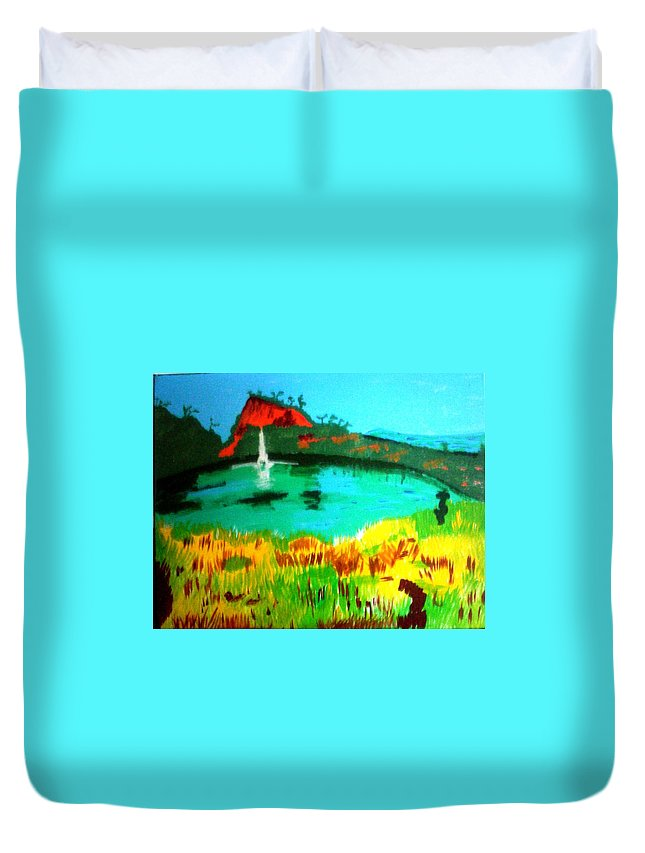 Landscape Duvet Cover featuring the painting Land And Sea by Lorna Lorraine