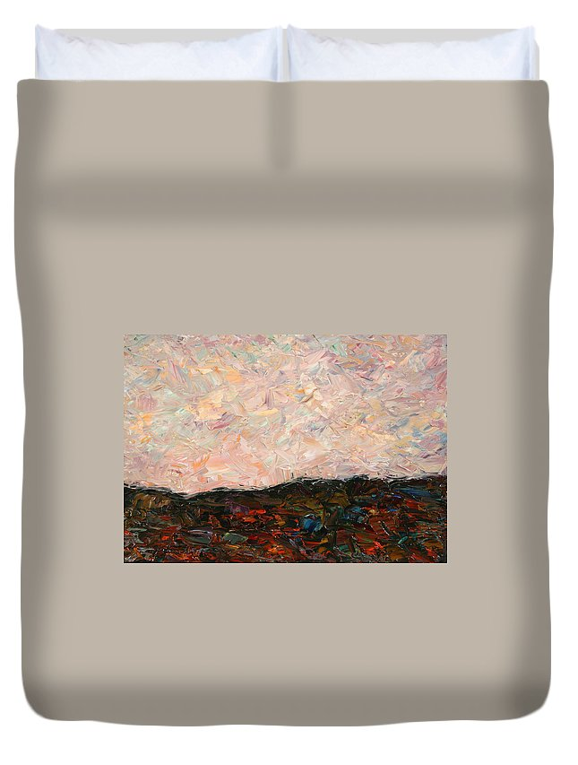 Land Duvet Cover featuring the painting Land And Sky by James W Johnson