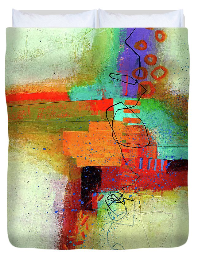 Jane Davies Duvet Cover featuring the painting Land Line #1 by Jane Davies