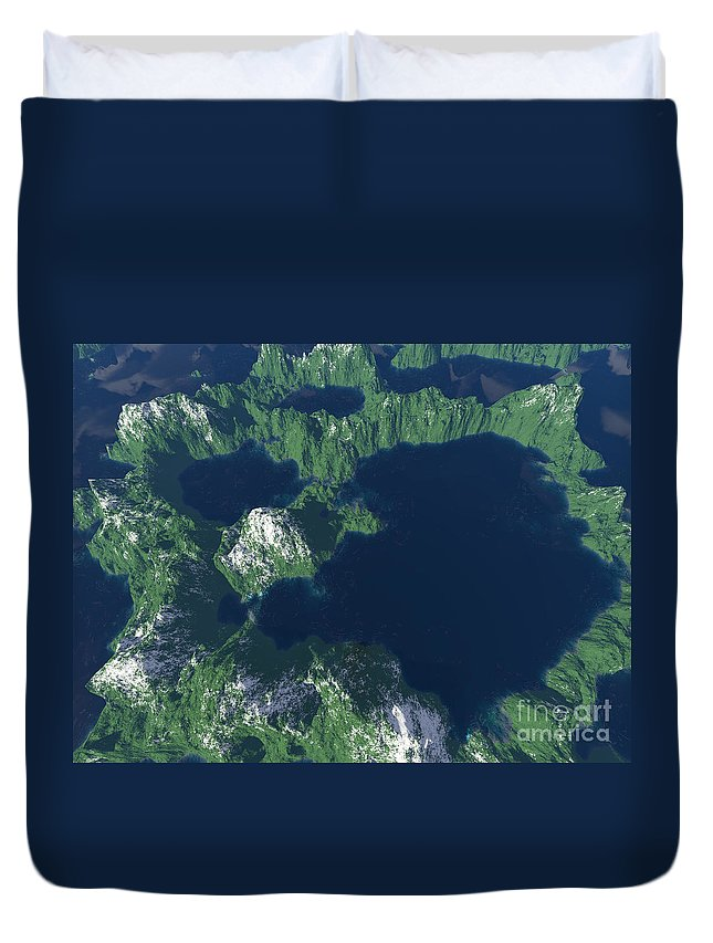 Craters Duvet Cover featuring the digital art Land Of A Thousand Lakes by Gaspar Avila
