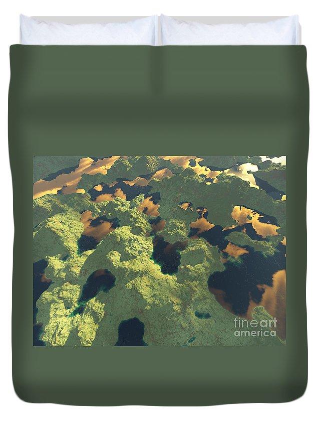 Digital Art Duvet Cover featuring the digital art Land Of A Thousand Lakes II by Gaspar Avila