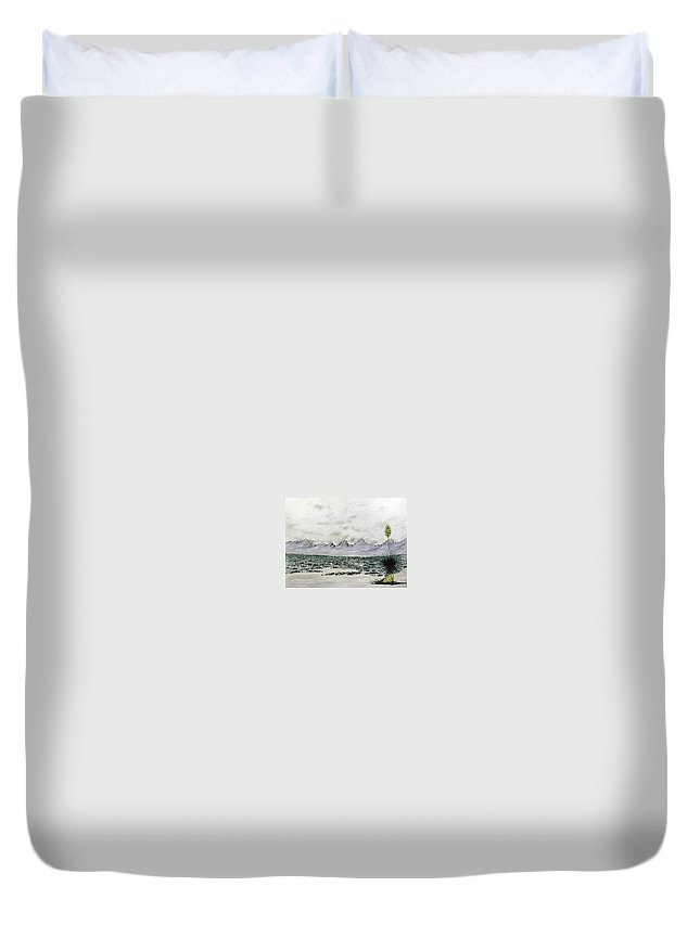 Desertscape Duvet Cover featuring the painting Land Of Enchantment by Marco Morales