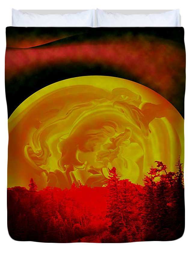 Moon Duvet Cover featuring the photograph Land Of The Living Skies by Andrea Lawrence
