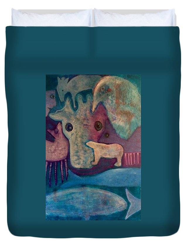 Duvet Cover featuring the photograph Land, Sea, Sky - We Are Interdependent by Jane Dickson