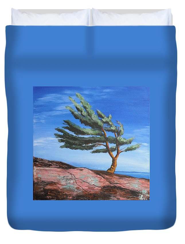 Landscape Duvet Cover featuring the painting Landmark by Jana Caissie