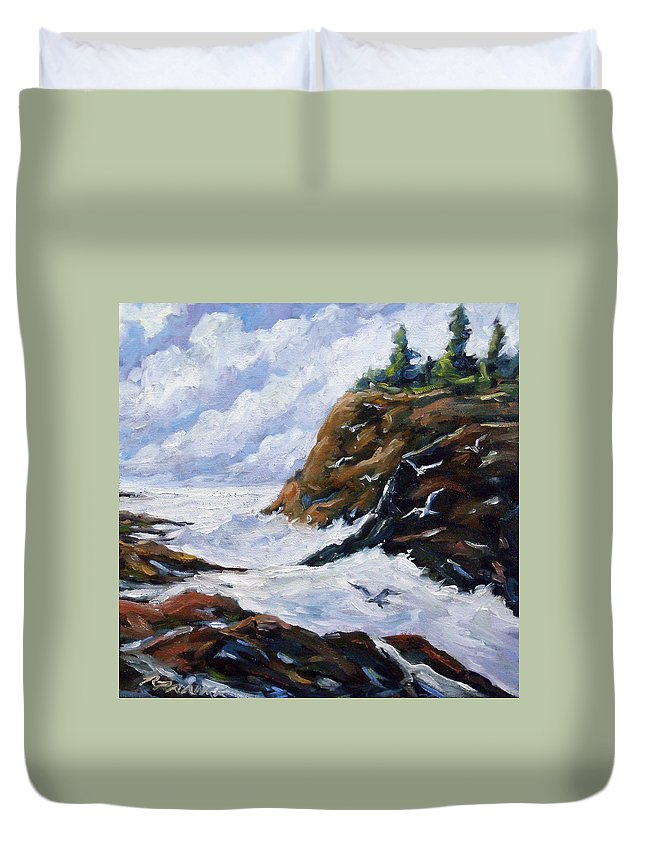 Art Duvet Cover featuring the painting Lands End by Richard T Pranke