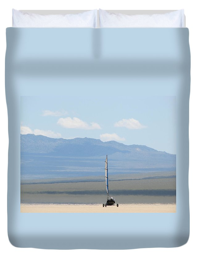 Duvet Cover featuring the photograph Landsailing Too by Kelly Mezzapelle