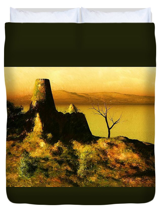 Fine Art Duvet Cover featuring the digital art Landscape 111610 by David Lane