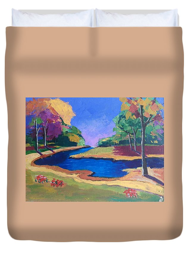 Trees Duvet Cover featuring the painting Landscape 7 by Al Bull