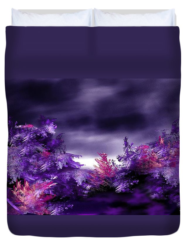 Abstract Digital Painting Duvet Cover featuring the digital art Landscape 9-26-09 by David Lane