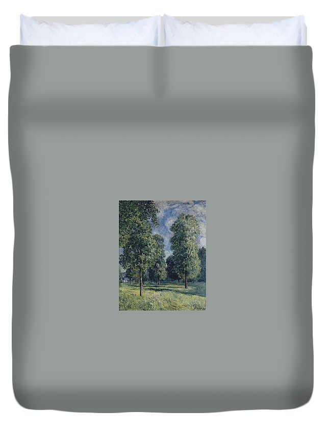 Landscape At Sevres Duvet Cover featuring the painting Landscape At Sevres by MotionAge Designs