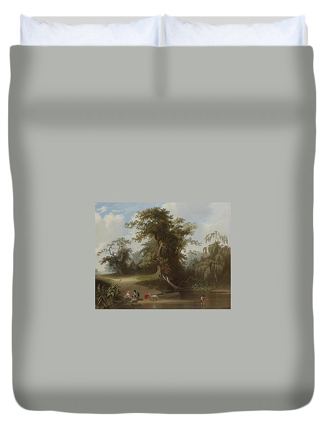 Landscape. Rural Scenery By George Caleb Bingham Duvet Cover featuring the painting Landscape by George Caleb Bingham