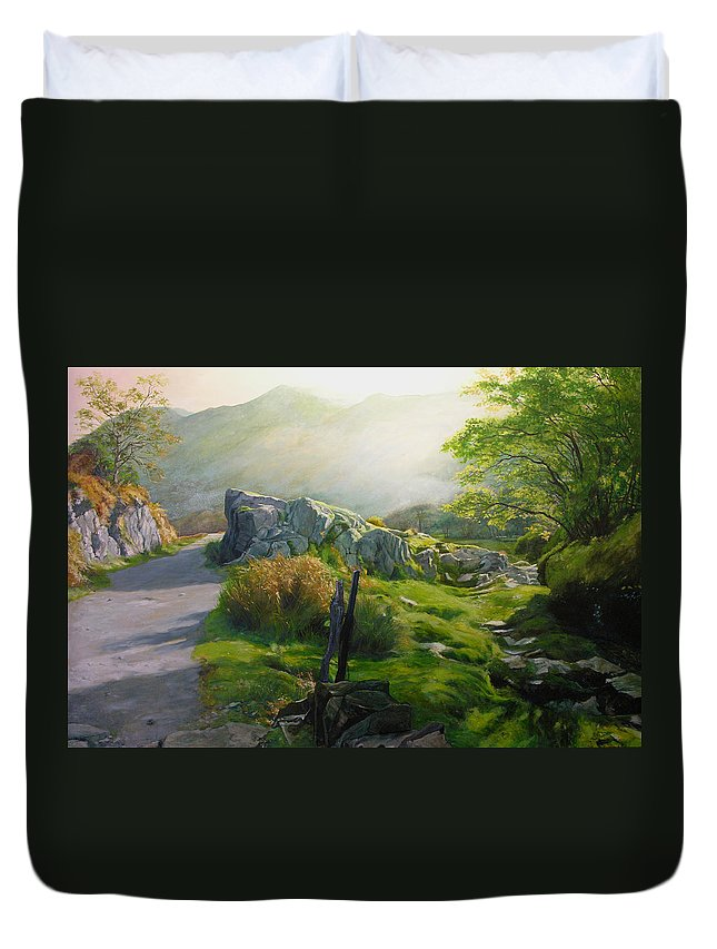 Landscape Duvet Cover featuring the painting Landscape In Wales by Harry Robertson
