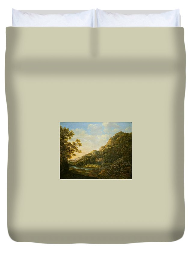 Landscape Painter 18th-19th Duvet Cover featuring the painting Landscape Painter by MotionAge Designs