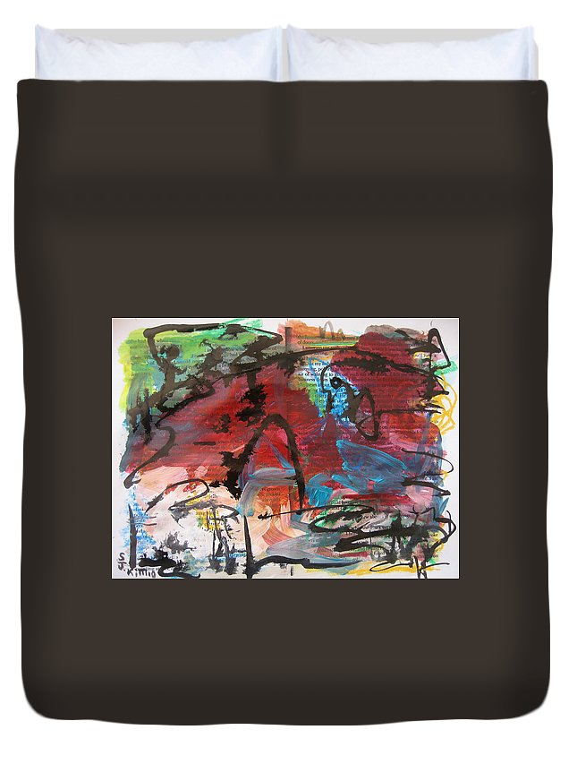 Red And Green Painting Duvet Cover featuring the painting Landscape Sketch16 by Seon-Jeong Kim
